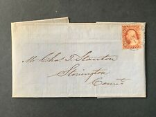 1852 NY EXPRESS MAIL CAPTAIN STANTON PA SHIP LETTER CT WOUNDED CIVIL WAR +IMPERF