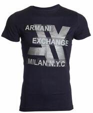Armani Exchange Mens S/S T-Shirt MILAN Designer NAVY BLUE Casual M-L $45
