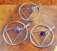Amethyst Crystal Point Trinagle Necklace - Silver Geometric Pendant (BB13)
