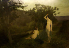 """perfect 36x24 oil painting handpainted on canvas """"two naked girls""""@NO8259"""