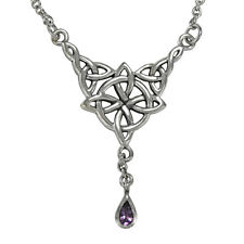 """Witches Quaternary Celtic Knot Sterling Silver Amethyst Necklace Wicca Pagan 18"""""""
