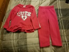 Toddlers girls Teddy Boom 2 piece play suit size 2t pink long sleeve knit poly