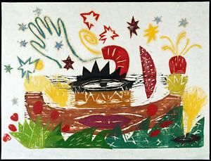 Kunst in der DDR, 1990. Grosser Holzschnitt Ruth TESMAR (*1951 D), handsigniert