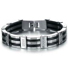 Bracelet acier, gourmette homme argent et noir mode,bracelet homme et mixte
