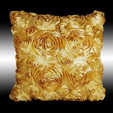 "GOLD 3D RAISED RIBBON ROSES FAUX SILK DECO THROW PILLOW CASE CUSHION COVER 16"""