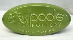 POOLE POTTERY ADVERTISING POINT OF SALE OVAL PEBBLE DISPLAY SIGN – GREEN