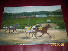 old horse raceing painting original rare one of a kind racehorse vintage rare