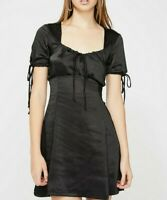 MOTEL ROCKS Guenette Dress in Black Satin    (mr111)