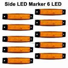 10X Orange Amber 12V 6 LED Side Marker Indicators Lights Vans Truck Trailer Bus