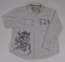 Rewire Men's Asian Dragon - Asian Letters Long Sleeve Button Down Shirt XL