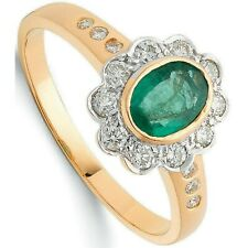 Emerald and Diamond Engagement Ring 18K Yellow Gold Certificate Large Size R - Z