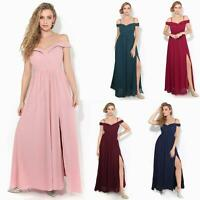 Womens Ladies Off Shoulder Formal Maxi Dress Slit Split Long Gown Wedding Party