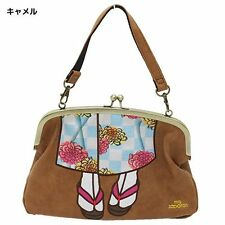 Authentic Japan mis zapatos 3-way Shoulder Bag Kimono - Camel