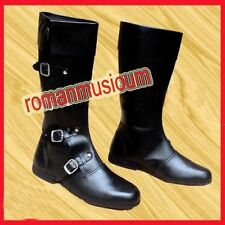 Winter Gift Black Pure Leather Men Boot Costume Medieval Style Long Shoes