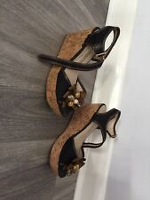 LAURA BIAGIOTTI WOMENS DESIGNER BROWN MIX OPEN TOE STRAPY WEDGE HEEL SHOES SZ 36