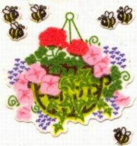 **SUPER RARE** FUZZY HANGING FLOWER BASKETS Sandylion Stickers - 3 sq ~VINTAGE~