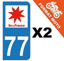 2 AUTOCOLLANTS PLAQUE IMMATRICULATION MOTO DEPT 77 REGION Île de France
