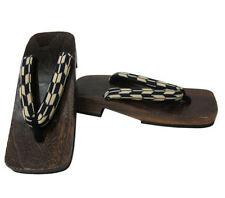 "Japanese Men's Wooden Geta Sandals 10.25""L Samurai Yukata Kimono Shoes Yabane"