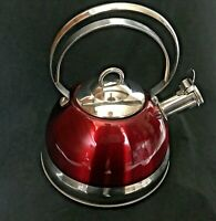 """Swiss Pro Stainless Steel Whistling Tea Kettle Fire Engine Red Teapot 8"""" Base"""