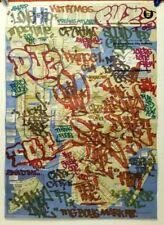 FUZZ ONE NY GRAFFITI LEGEND SPRAY TAGGED NYC URBAN SUBWAY MAP OOAK N/R