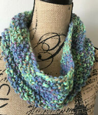 Hand Knit Womens Cowl Infinity Scarf Spring Textured Stitches Spring Colors