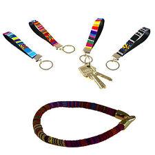 Armband mit 4x Schlüsselanhänger - Textil/Leder - Hippie Ethno Boho Azteken