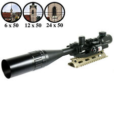 6-24X50 Tactical Rifle Scope R/G Mil-dot with PEPR Mount +Sunshade+Laser Sight