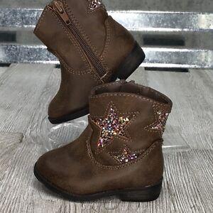 Cowboy Boots Brown Vegan Star Cut Out Glitter Multi Gar-animals Toddler Shoe 3