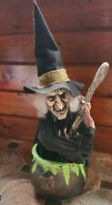 """Animated Witch Stirring Cauldron Decoration 25"""" Tall Sound and Lighted"""