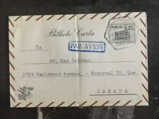 1953 Macau Air Letter Cover to Montreal Canada