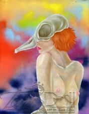 ORIGINAL WarrenS & TanDoll Art Painting Duck Skull Sunset Nude Woman Artwork