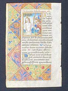 Illuminated Medieval Manuscript Vellum BOH Leaf w/ St. Sebastian MINIATURE, 1510