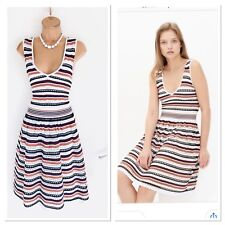 Stunning SANDRO Knitted/ Striped Crochet Skater Dress Uk Size 10-12/ New