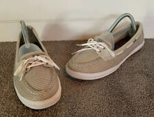 KEDS Ortholite Womens Sz 8.5 Gray & Silver Striped Slip On Loafers Boat Shoes