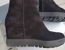 Stivali donna Prada camoscio nero 40 IT con tacco plateau