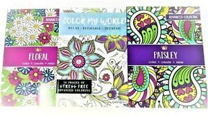 Adult Coloring Books Set Of 3 - Floral - Paisley - Color My World - Lot 321