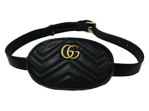 GUCCI belt bag 476434 leather black GG Marmont body bag waist pouch gold used