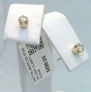 $900 14k YELLOW Gold SOLID!  CERTIFIED 1/4CTTW CT REAL Diamond Stud Earrings
