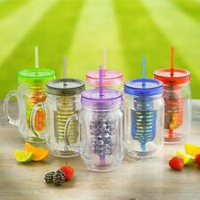 3 X Fruit Infusion Infused Water Mason Jam Jars Drinking Jar with Handle & Straw