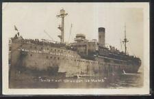 REAL PHOTO Postcard MILITARY TROOP CARRIER SHIP KONINGIN DER NEPERLADEN 1910's