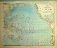 1881 LETTS MAP PACIFIC OCEAN POLYNESIA AUSTRALIA NEW GUINEA TASMANIA FIJI