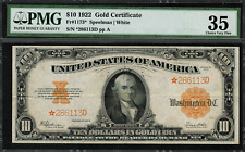 1922 $10 Gold Certificate FR-1173* Star Note PMG 35 Choice Very Fine