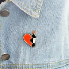 Creative Cartoon Metal Red Heart Wine Bottle Badge Corsage T-shirt Pins Jewelry