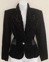 Vintage ANOTHER THYME Women Velvet Jacket Sz S Goth Peplum Rhinestone Button