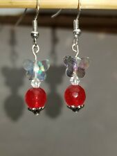 AB Crystal butterflies w genuine Faceted Ruby stamp silver dangle earrings