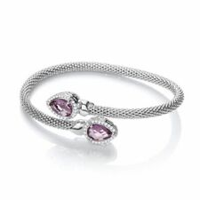 Sterling Silver Cross Over Bangle with Amethyst and Cubic Zirconias Pear Shape