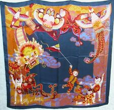 New 100% Charmeuse Silk Scarf - Kid with Kite