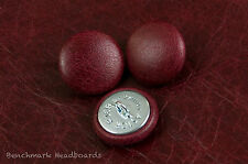 3 Upholstery buttons Antique Dark Red / Oxblood  Real Scottish leather 25mm