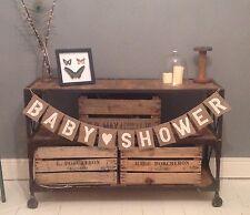 Baby Shower Hessian / Burlap Rustic Vintage Banner Bunting