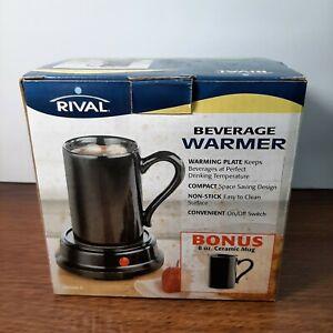 RIVAL Electric Beverage Coffee Warmer 2-Piece Black Mug & Heater NEW OPEN BOX